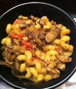 Mixed Mushroom Ragu served over cavatappi pasta
